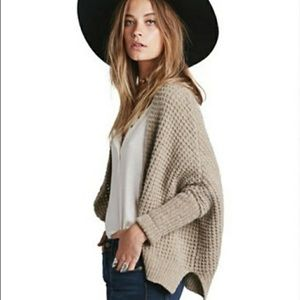 Free People waffle knit bat wing cardigan